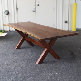 Walnut Live Edge Trestle Table