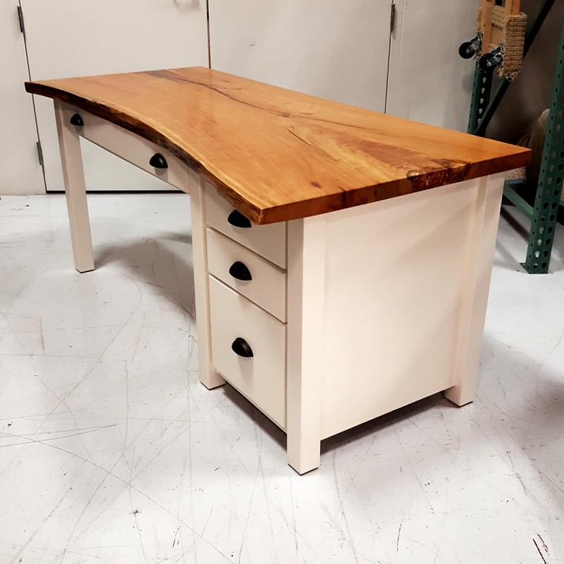 Cherry Live Edge Slab Desk Live Edge Desk Amish Made