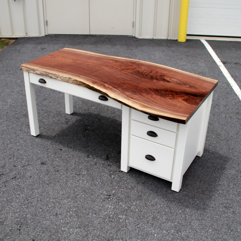 30 Live Edge Coffee Tables That Transform The Living Room: Walnut Live Edge SLAB Desk
