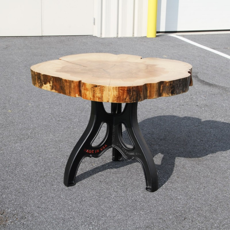 Solid Slab Ash Table With Aluminum Base Country Lane Furniture