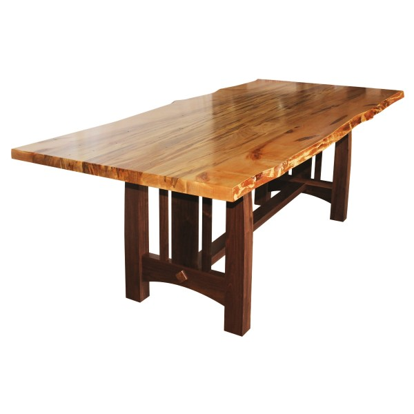 Wormy maple live edge table solid hardwood furniture for Maple dining table