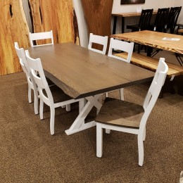 Oak Live Edge Slab Dining Set