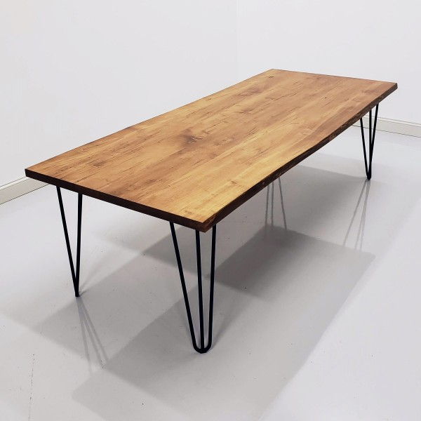 Wormy Maple Live Edge & Hair Pin Table