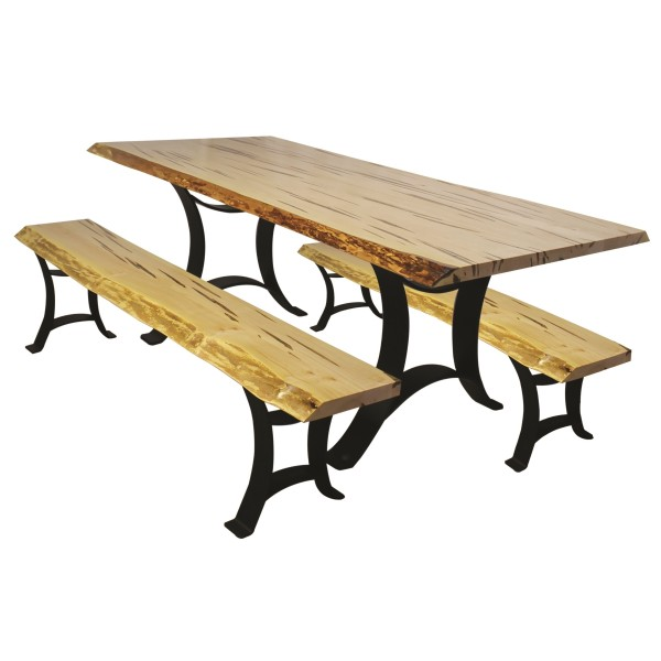 Wormy Maple Live Edge Dining Set