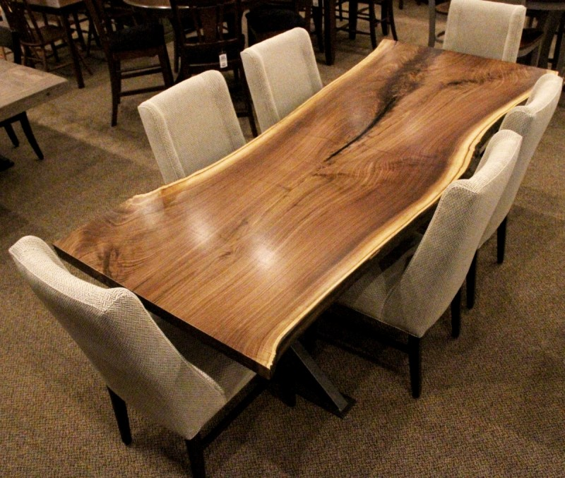 Walnut Live Edge Slab Table Set Solid Hardwood Furniture