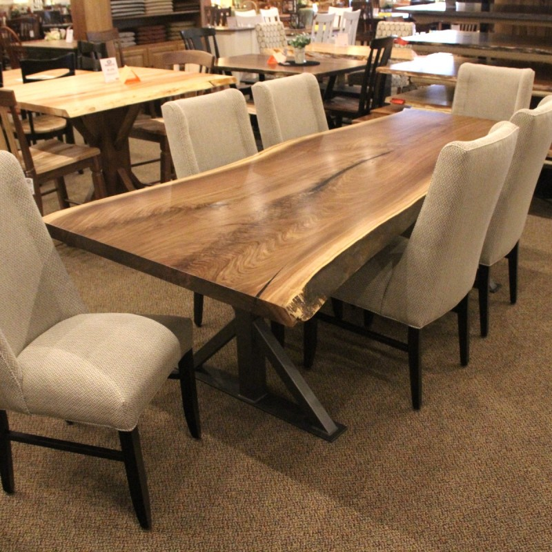 Walnut live edge slab table set solid hardwood furniture for Hardwood furniture