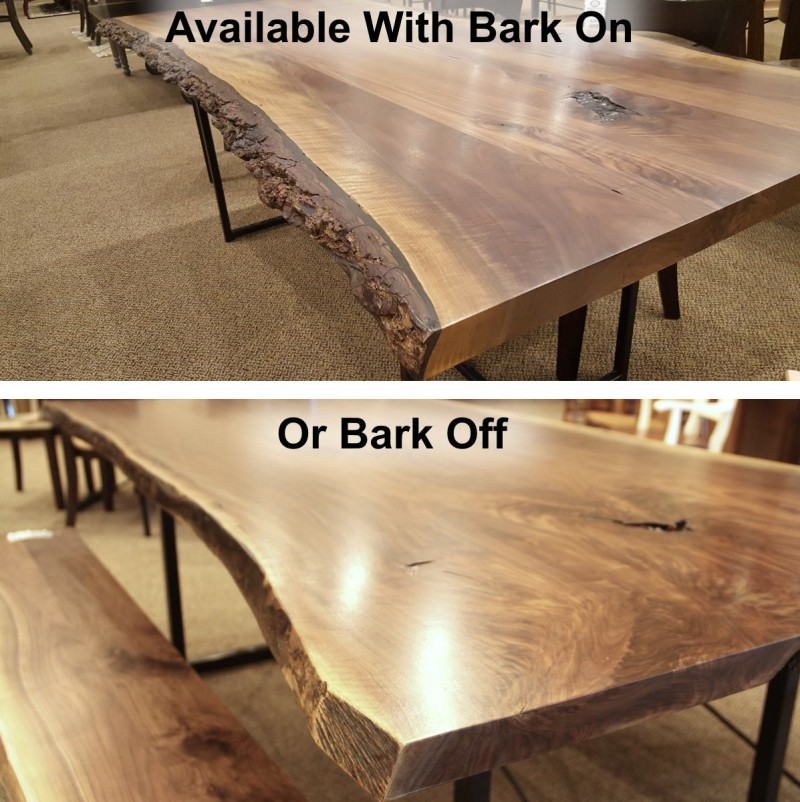 walnut live edge end table | amish live edge coffee table | amish