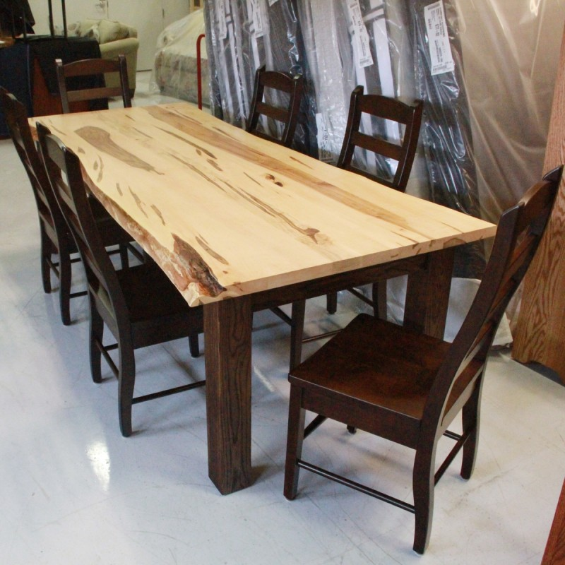 Wormy Maple Live Edge Farm Table Solid Hardwood