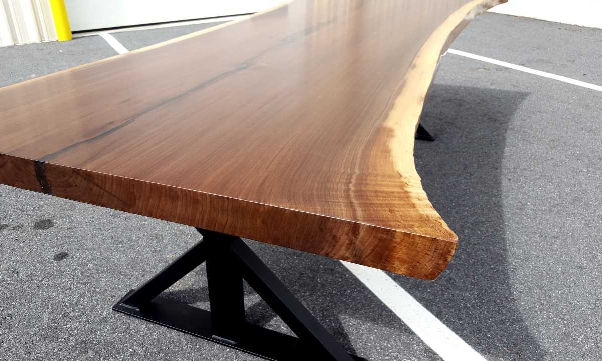 Walnut Live Edge Slab Table Solid Hardwood Furniture