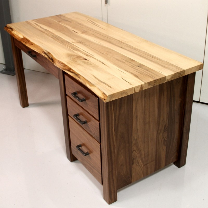 Custom Walnut Amp Maple Live Edge Desk Live Edge Desk Amish