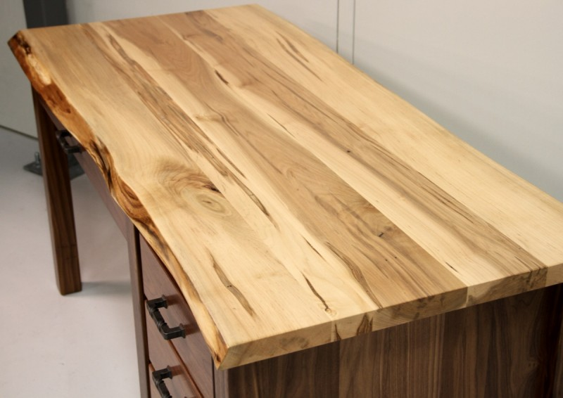 Custom Walnut & Maple Live Edge Desk  Live Edge Desk Amish ...