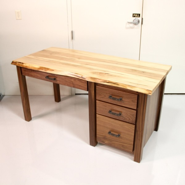 Custom Walnut & Maple Live Edge Desk