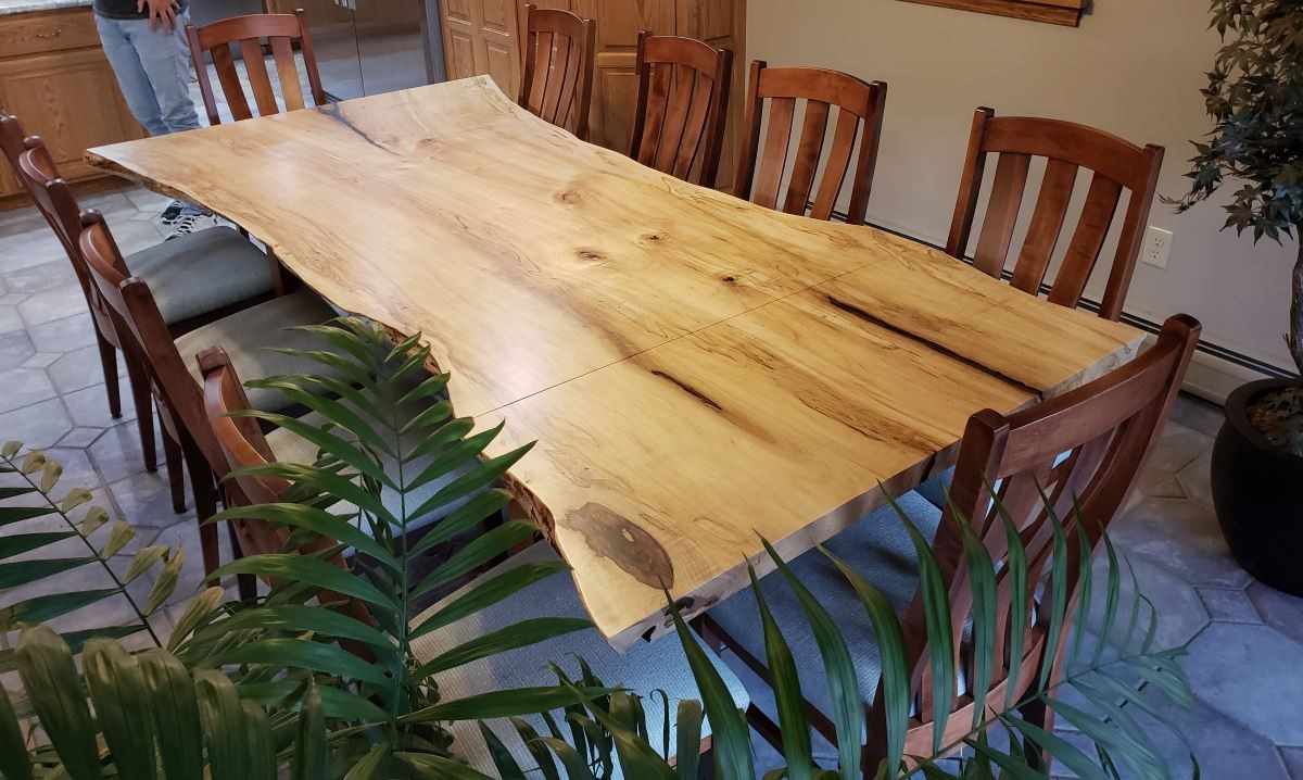 Wormy Maple Live Edge Extension Table Handcrafted Live Edge Extension Table Extension Table Live Edge Country Lane Furniture