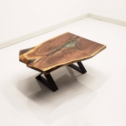Walnut & Epoxy Lake Coffee Table