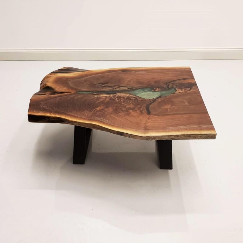 30 Live Edge Coffee Tables That Transform The Living Room: Walnut & Epoxy Lake Coffee Table
