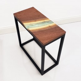 Walnut & Epoxy River End Table