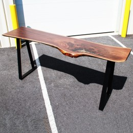 Walnut & Pebbles Live Edge Bar Table