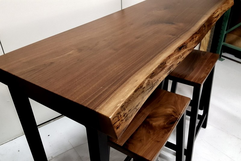 Small Walnut Live Edge Bar Table Solid Hardwood