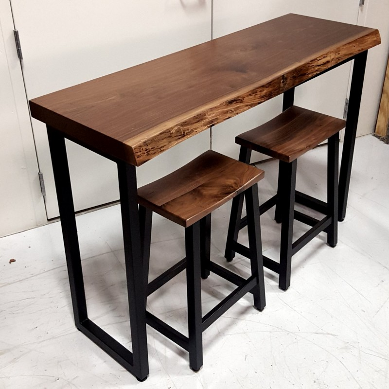 small walnut live edge bar table solid hardwood furniture locally handcrafted tables. Black Bedroom Furniture Sets. Home Design Ideas