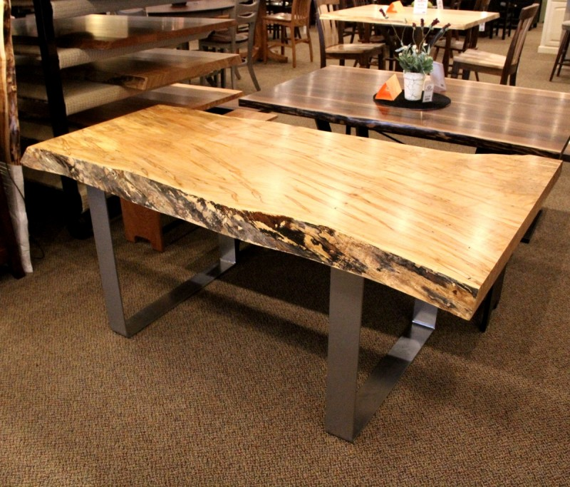 Great ... Wormy Maple Live Edge SLAB Table Set ...
