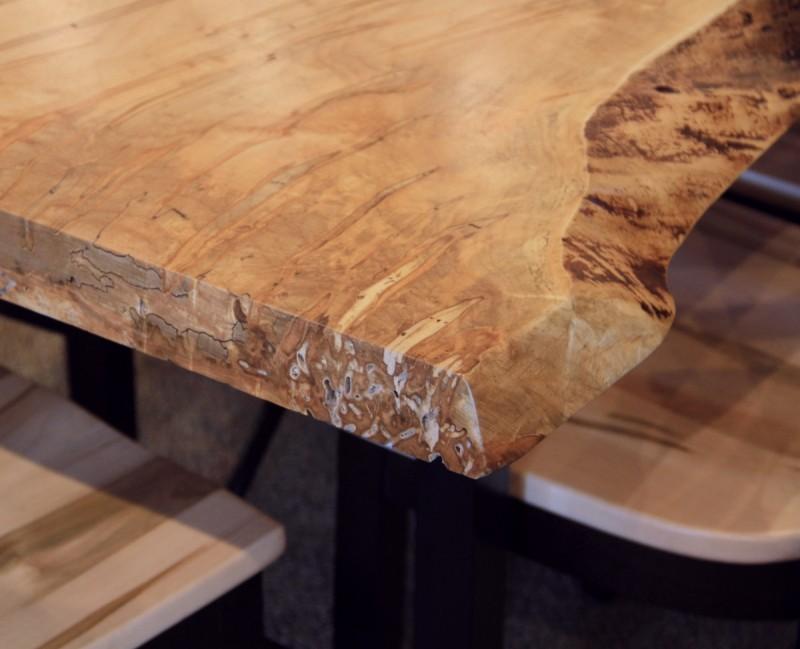 ... Wormy Maple Live Edge SLAB Table Set ...