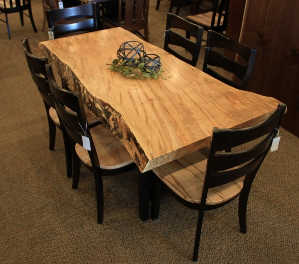 Wormy Maple Live Edge Slab Table Solid Hardwood Furniture Locally Handcrafted Tables
