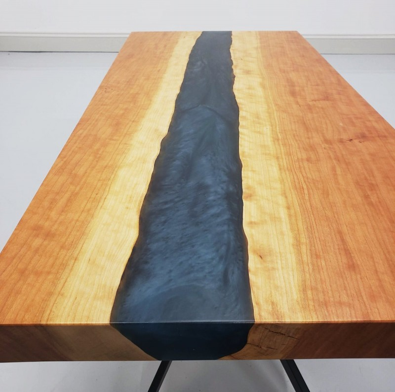 30 Live Edge Coffee Tables That Transform The Living Room: Cherry & Epoxy River Coffee Table