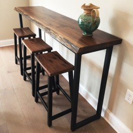 Walnut Live Edge Bar Table