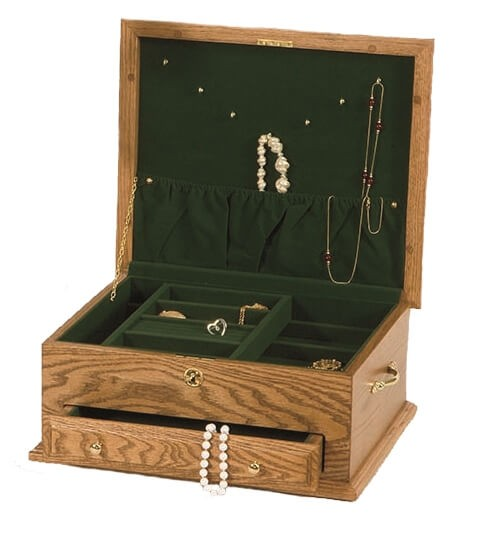 Jewelry box w drawer amish made jewelry box for Solid wood jewelry chest