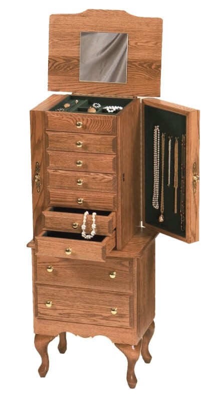 Traditional jewelry armoire amish crafted