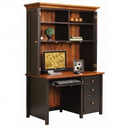 Boyer Ave Single Pedestal Desk with Hutch