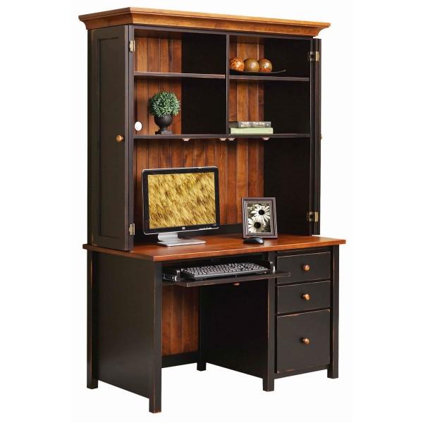Boyer Ave Single Pedestal Desk with Hutch