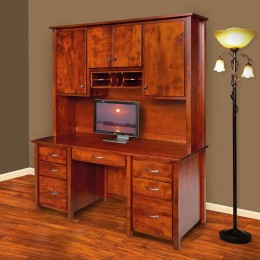 Boyer Ave Double Pedestal Desk with Hutch