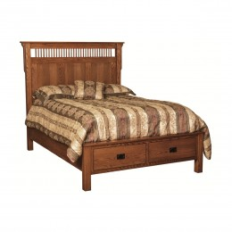 Mission Bed with Two Drawers