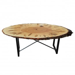 Wormy Maple Live Edge Oval Coffee Table