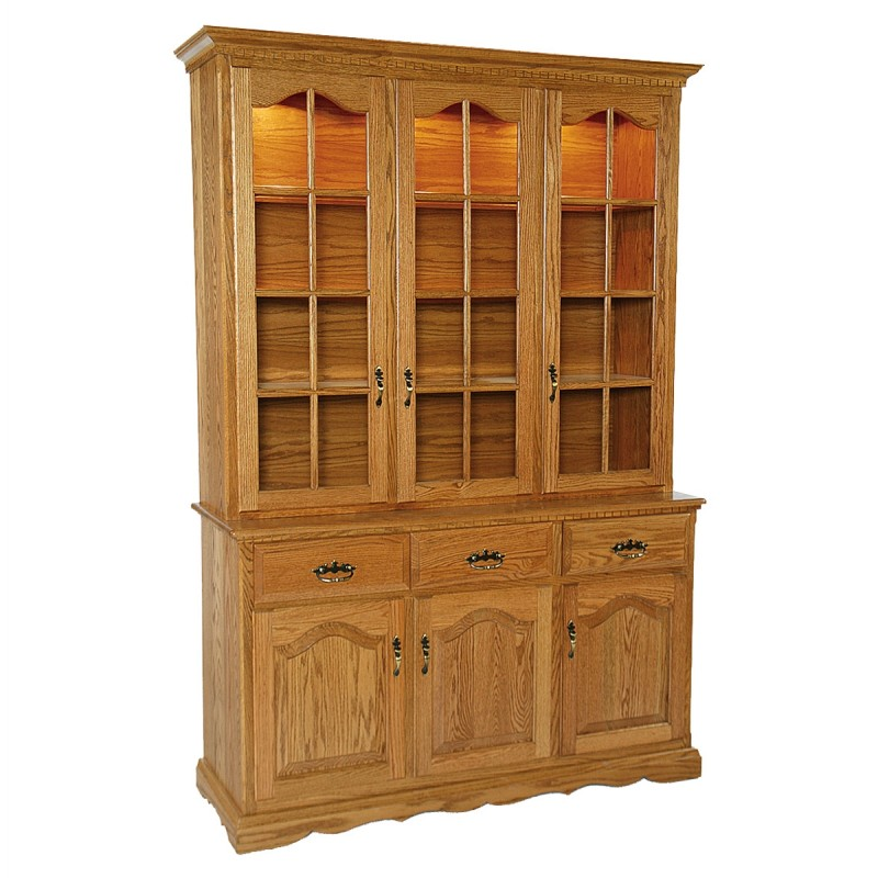 traditional 3 full door hutch amish and mennonite made hutch country lane furniture. Black Bedroom Furniture Sets. Home Design Ideas