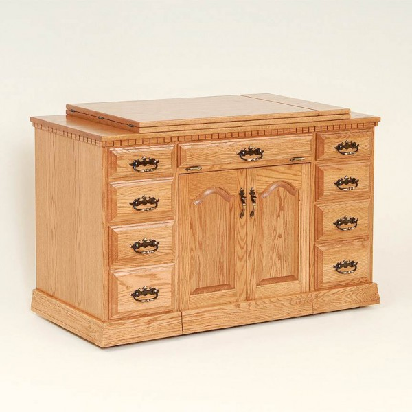 Double Pedestal Sewing Cabinet With Support Top