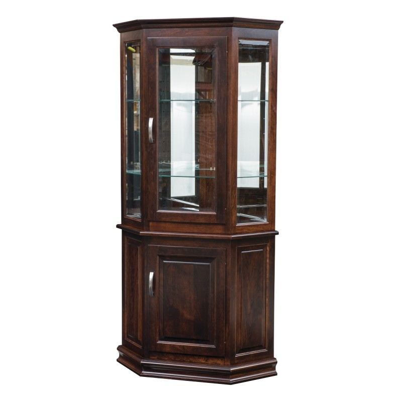 Corner Deluxe Curio With Enclosed Base Amish Deluxe