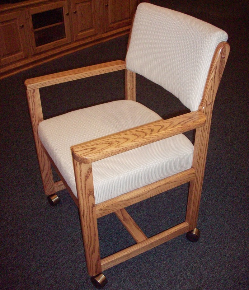 Custom Oak Upholstered Chair