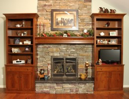 Custom Cherry Fireplace Wall Unit