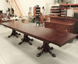 Custom Cherry Triple Pedestal Table