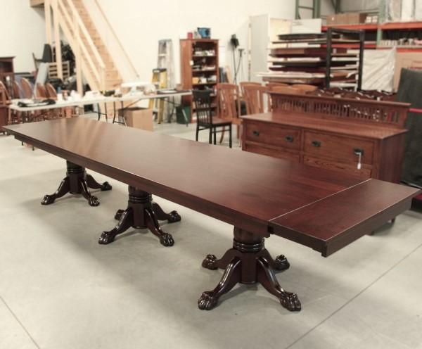 Custom Cherry Triple Pedestal Table
