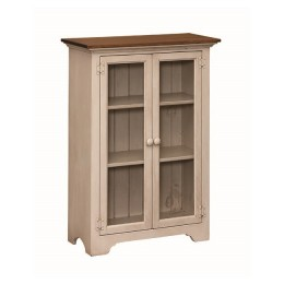 Pine Small Bookcase With Glass Doors
