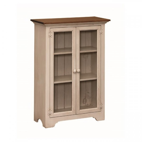 Pine Small Bookcase With Glass Doors Amish Pine Small