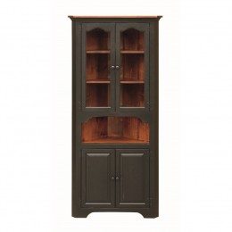 Pine Large Corner Cupboard With Glass Doors
