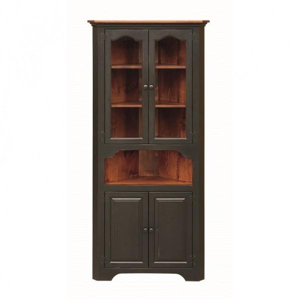 Pine Large Corner Cupboard With Glass Doors