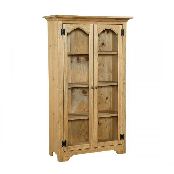 Pine Medium Bookcase With Glass Doors