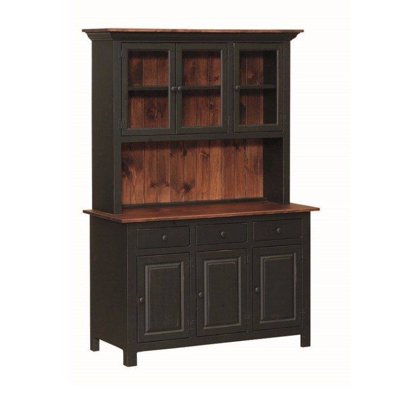 Country Kitchen Hutches: Amish Pine 3 Door Open Hutch