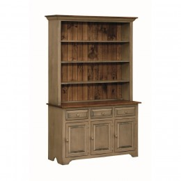 Pine 3 Door Open Hutch