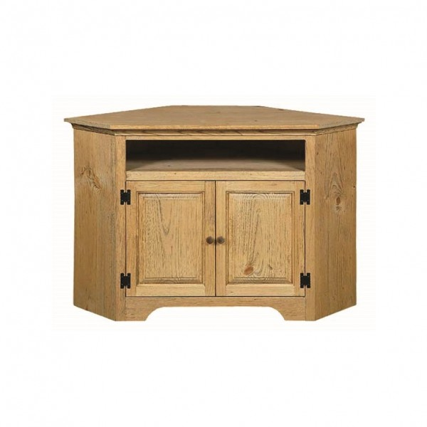 Pine Corner TV Stand With Opening
